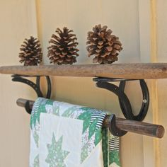 Strong Shelf Brackets and hooks, western decor, horseshoes used as shelving for home or office,  MADE TO ORDER