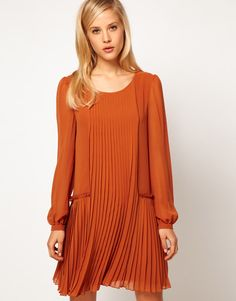 ASOS Shift Dress With Pleated Dropped Waist
