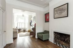 Open fireplace, wooden floors, knocked through rooms, victorian house, london