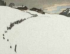 At the Brenner Pass - ENGLEBERT LAP - woodcut printed in colors on thin Japanese paper