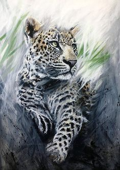 Grey green Leopard original art painting by PaulH artwork #luxury #animalart #art #artist #arty #wallart #interiordesign #interiors #painting #original #leopard #bigcat #pinxit #paulhart