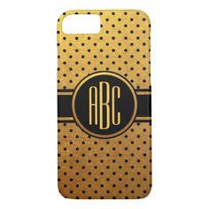 Gold and Black Polka Dot Pattern Monogram iPhone 7 Case