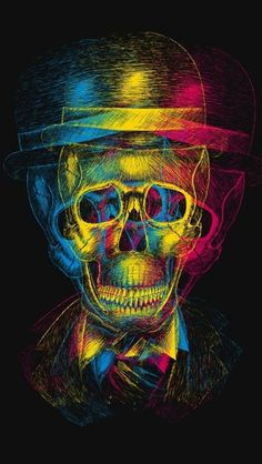 Tri Color Skull Wallpaper