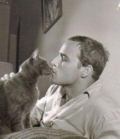 Actor Marlon Brando and his cat (late 1950's)