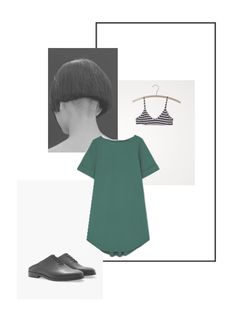 Vernez editorial collage. Fashion, outfit, minimalist, green