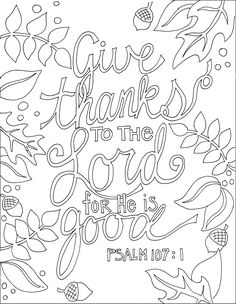 Ps 107.1 and many other printable Bible verse coloring pages