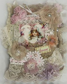 Little Girls Lace Collage Book, French Journal, Shabby French Book, Mixed Media Art Journal