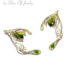 Elf Ears, Spirit of Nature, Greenery, elven ears, Green spirit, elven... (75 CAD) ❤ liked on Polyvore featuring jewelry, earrings, flower jewellery, wrap earrings, holiday jewelry, gothic jewelry and swarovski crystal jewelry