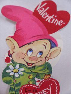 1X  ~ DOPEY SNOW WHITE SEVEN DWARVES DWARF DISNEY vintage valentine card
