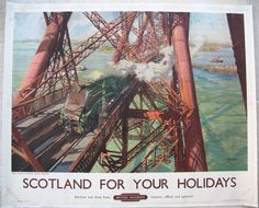 Scotland For Your Holidays - The World Famous Forth Bridge. This fabulous poster is one of Cuneo's finest for British Railways. It is from a painting of the early 1950s, printed in 1952 for the Scottish Region. Available on originalrailwayposters.co.uk