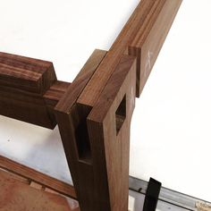 Leg #joinery detail for the #Splaytable. 3 parts intersecting and locked together with wedges and glue. #devilsinthedetails #timber #artefactfurniture #madeforlife #highquality #furniture #designermaker