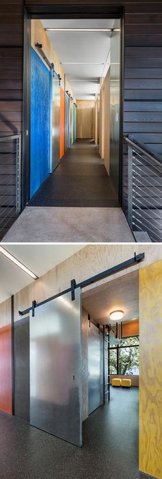 This industrial modern house has colorful stained plywood walls and metallic sliding barn doors. Plywood Interior, Interior Barn Doors, Plywood Walls, Steel Frame Construction, Indoor Swimming Pools, Industrial House, House Layouts, Modern House Design, Architecture Design