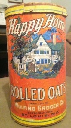 Happy Home Rolled Oats Spice Tins, Grey Kitchens, Vintage Tins, Rolled Oats, Good Old, Outlander, Random Stuff, Boxes, Container