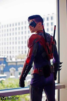 Dynamite Webber Cosplay in his amazing New 52 Nightwing suit and our mask. Photo by JustCoz Photography