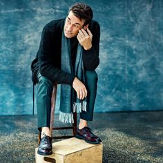 Mr Jon Hamm for MR PORTER wearing Berluti Cardigan and Sweater, Canali Trousers, John Lobb Shoes and Tom Ford Scarf.