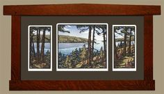 """This blockprint shows the late summer glory of Pacific Northwest scenery.  Designed by Yoshiko Yamamoto and printed at The Arts & Crafts Press. Limited edition of 280. Mat size 29.75"""" x 15.5"""". Frame size 37.25"""" x 20""""."""