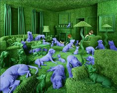 Sandy Skoglund image of artificial grass room with blue dogs