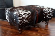 Handmade Handcrafted with New Materials Dark Brown and White Cowhide Cow Hide Leather Ottoman Footstool Foot Stool Furniture
