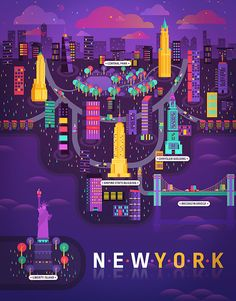 Cosmopolis de Aldo Crusher  http://www.fubiz.net/2014/04/26/colorful-illustrations-of-cities/