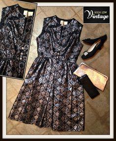 Vintage Black & Silver Brocade Cocktail Dress by HighLowVintage