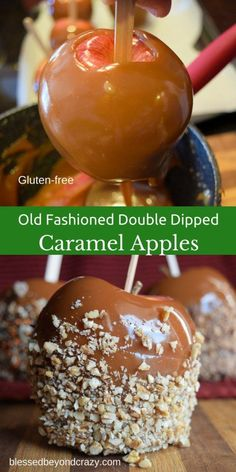 Old Fashioned Double Dipped Caramel Apples - Love this recipe! When I make homemade caramel sauce I know exactly what's going into it. Carmel Apple Recipe, Gourmet Caramel Apples, Caramel Recipes, Caramel For Apples, Carmel Apples Homemade, Carmal Apples, Carmel Apple Dip, Chocolate Caramel Apples Recipe, Desserts Caramel