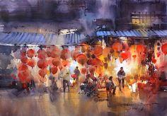 Direk Kingnok Watercolor artist  Happy Chinese New Year 2016 Chúc mừng năm mới Hanoi lantern shop  35 x 50 cm.