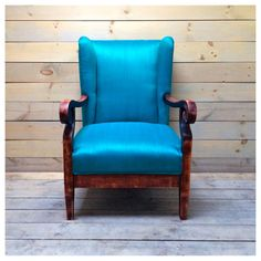 Turquoise Raw Silk Upholstered Empire Chair by chezboheme on Etsy, $564.00
