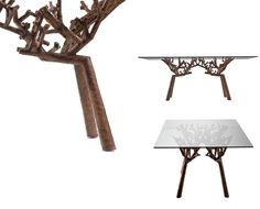 """Believe it or not' the """"legs"""" of this tabel are made of tobacco leaves molded with glue in to the shape of branches! I would find it hard to believe if I hadn't seen this material for myself in the design studio! The designer of this table is Vito Selma - a lovely talented young designer based somewhere between Italy and the Philippines. He brings many new materials into hes projects and they are surprisingly always inspired by hes past."""