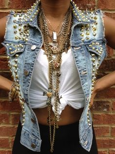 Studded jean jackets, loving all the costume jewelry.