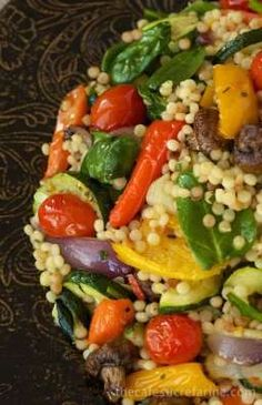 Mediterranean Roasted Vegetables and Pearl Pasta - flavorful, healthy and hearty all at the same time! The vegetables are deliciously caramelized and the pearl pasta makes it a complete meal!-- Sub the pearl pasta for barley Veggie Dishes, Pasta Dishes, Vegetable Recipes, Vegetarian Recipes, Cooking Recipes, Healthy Recipes, Vegetarian Grilling, Healthy Grilling, Side Dishes