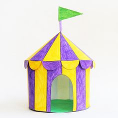 Color, cut out and assemble our printable circus tent templates into easy three-dimensional paper circus tents. Fun Crafts For Kids, Summer Crafts, Toddler Crafts, Preschool Crafts, Projects For Kids, Art For Kids, Circus Theme Crafts, Circus Activities, Carnival Crafts
