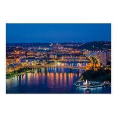 NOIR Gallery Pittsburgh Allegheny River Bridges at Night Canvas Wall Art - PITT-03-TW-08