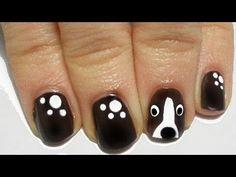 """Dog Nail Art Tutorial Facile easy"" looks like a BORDER COLLIE face! :) #nailart #dog"