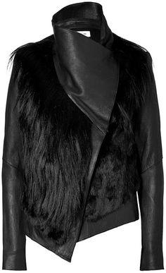Black Combo Leather Fur Jacket - Lyst SO PRETTY !!!