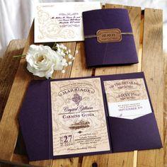 Wedding Invitation Rustic Vineyard - Megan Elizabeth - Printed or Printable by MeganElizabethShop on Etsy