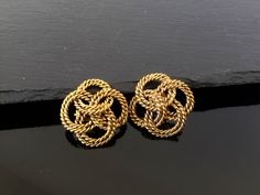 Chanel CC   earrings Authentic   Chanel vintage CC signed yellow gold plated clip on earrings unique Chanel statement earrings by NUKOBRANDS on Etsy https://www.etsy.com/listing/293607803/chanel-cc-earrings-authentic-chanel