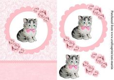 Kitten roses card topper decoupage on Craftsuprint designed by Toni Martin - Card front / topper featuring a sweet little kitten in a scallop edged circular frame. The design is enhanced with roses. Decoupage layers included. Suitable for many occasions. - Now available for download!