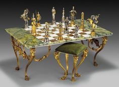 Gold and Silver Onyx Rectangular chess-table and stool | #TreatYoSelf | #ParksandRec