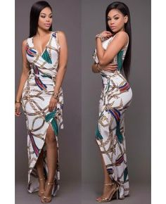 Slit Belted Maxi Printed Dress