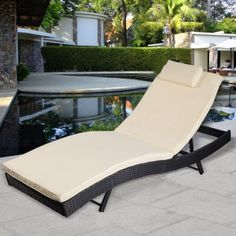 Black Outdoor Pool Chaise Lounge Chair PE Wicker Patio Furniture Adjustable New >>> Please continue read.