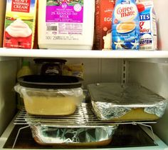 Use your cookie cooling racks in your fridge to stack items that you really wouldn't be able to stack normally.  This allows you more space in your fridge during your holiday cooking ventures.