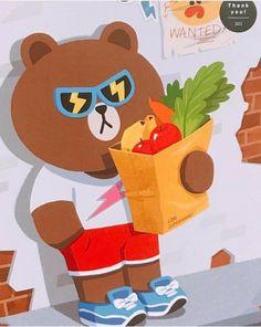 Cony Brown, Brown Bear, Hug Illustration, Cute Bear Drawings, Kakao Friends, Brown Line, Cute Love Cartoons, We Bare Bears, Bears