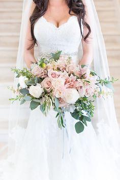 romantic blush pink wedding bouquets - photo by Amy and Jordan Photography http://ruffledblog.com/feminine-floral-wedding-in-the-arizona-desert