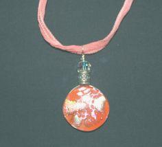 Dichroic Glass Pendant  Orange Peach Silver by marykerran.etsy.com