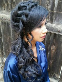 Curly Side Ponytail With Headband Braid