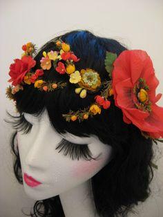 Poppy Flower Floral Head Garland Crown Beaded Wreath Headdress Tiara. $55.00, via Etsy. headband