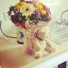 Flowers to make you smile and Bramble Bear to cuddle you in my absence. X x x