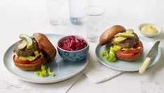 Beef burgers with beetroot and carrot slaw recipe - BBC Food Slaw Recipes, Burger Recipes, Beef Recipes, Yummy Snacks, Healthy Snacks, Carrot Slaw, Ham And Cheese Crepes, Mary Berry, Just Cooking