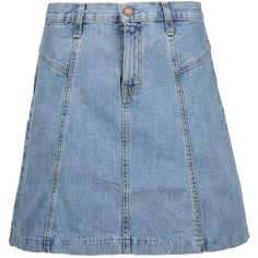 Current/Elliott - The Skater Denim Mini Skirt ($84) ❤ liked on Polyvore featuring skirts, mini skirts, light denim, flared denim skirt, circle skirts, blue skirt, denim miniskirt and short mini skirts