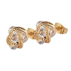 Calors Vitton 18K Gold Plated Winding Cubic Zirconia Stud Earrings for Women >>> Click on the image for additional details. Note:It is Affiliate Link to Amazon.